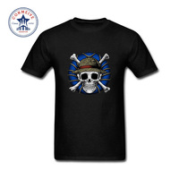 2017 Funny Hip Hop Printed Funny Skull Hat Popluar Anime Character Design Cotton T Shirt for men