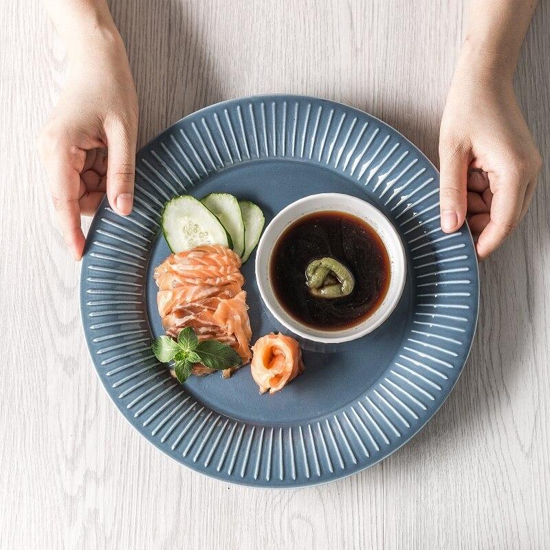 HEPBURN Nordic 2pcs plates set porcelain flat/soup plate creative kitchen dinnerware tableware salad/fruit/dessert/Snack/Trinket