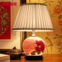 TUDA Free Shipping Hand Painted Ceramic Table Lamp Creative Chinese Decorative Table Lamp For Foyer Study