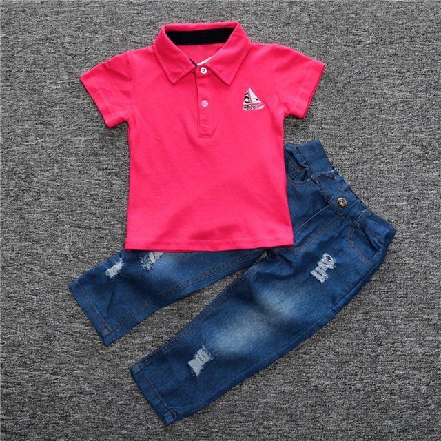 fd7181fa844 2pcs Toddler Infant Kids Baby Boy Clothes Polo T Shirt Short Sleeve Tops T Shirt  Denim Jeans Long Pants Clothes Set Outfits Suit