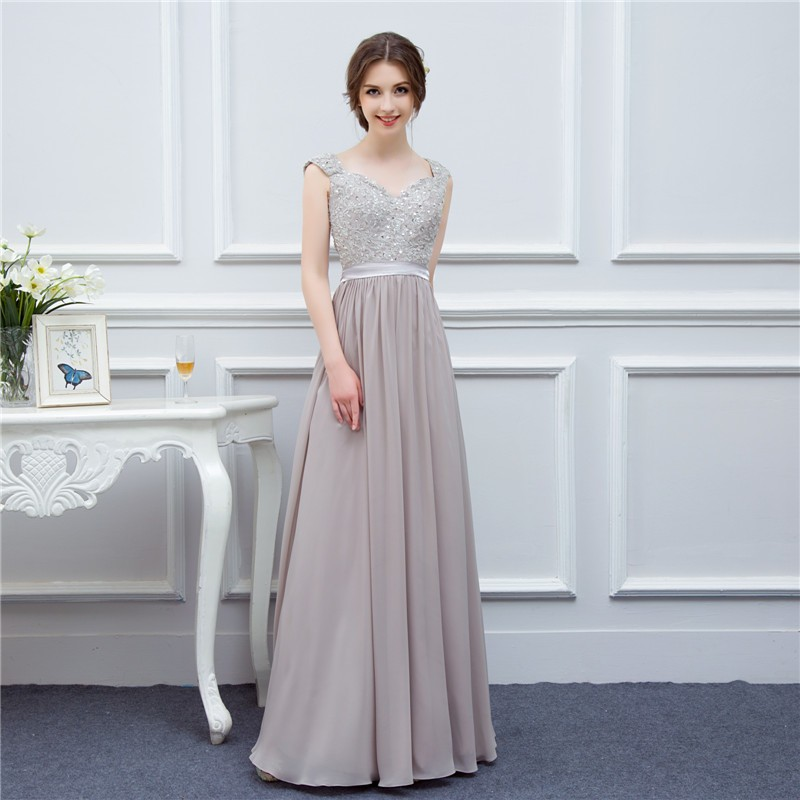 silver grey cap sleeve high quality applique floor length long chiffon bridesmaid dress wedding event dress maid of honor 1