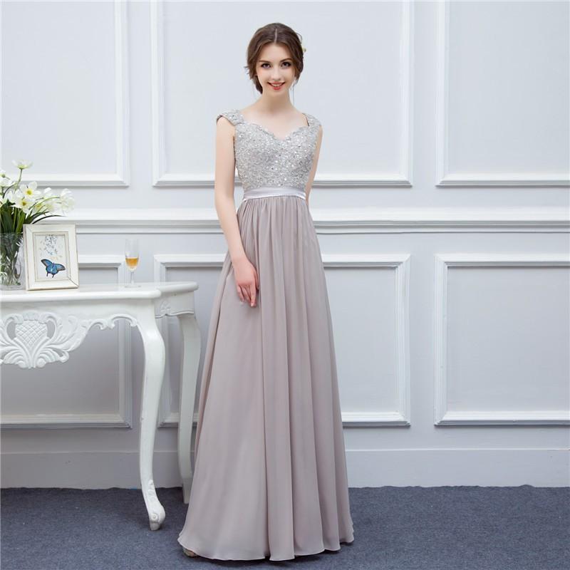 silver grey cap sleeve high quality applique floor length long chiffon bridesmaid dress wedding event dress maid of honor 1