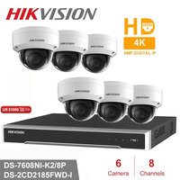 Hik 8CH POE NVR Kit 6pcs 8MP DS 2CD2185FWD I CCTV Security System Dome Outdoor IP Camera New Year Promotion for 6 Days