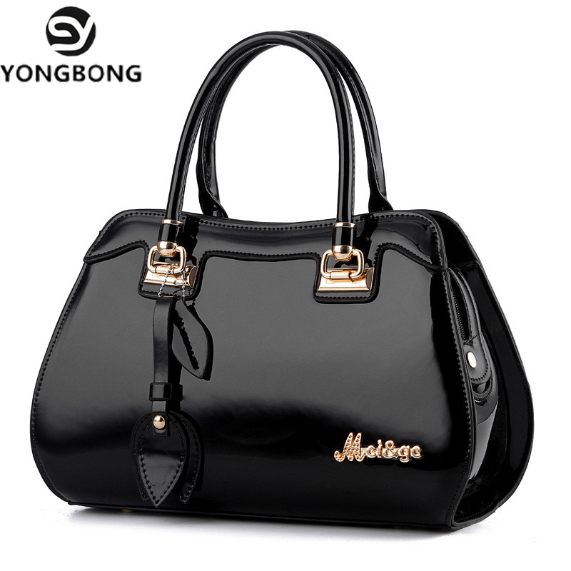 YONGBONG 2018 Patent Leather Women Drop bag Ladies Cross Body Messenger Shoulder Bags Handbags Women Famous
