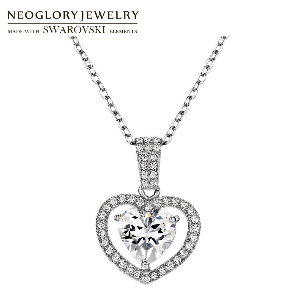 Neoglory Šperky Zircon & S925 Silver Charm Náhrdelník Alergie Vynikající Romantická láska Srdeční styl pro Party Dámské Dárky