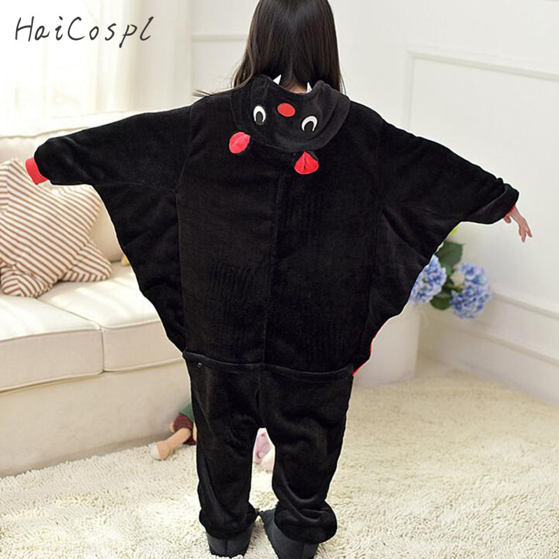 Bat Pajama Kids Animal Cosplay Costume Children Onesie Flannel Warm Kigurumi  Homewear Winter Lovely Sleepwear For Boys Girls