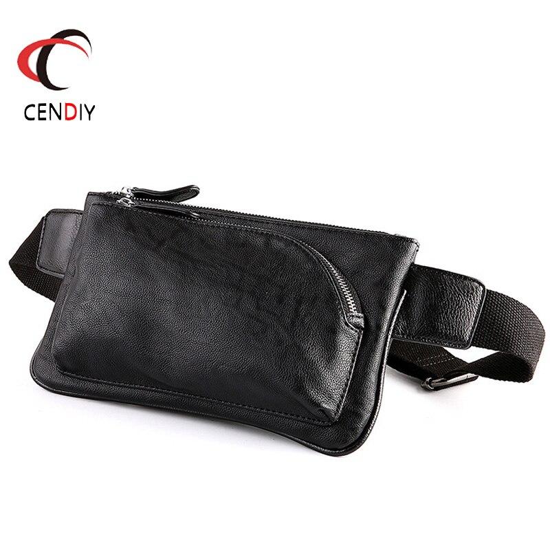 New Waist Bag Men Waist Fanny Pack For Phone Pouch Travel PU Leather Small Shoulder Bag Organizer Belt Waist Bag For Men 2018