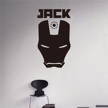 New arrival Custom Names Wall Decal Iron Man Mask Vinyl Sticker Personalized Decals Home Decor Removable Art