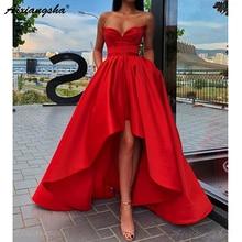 פשוט אדום מתוקה ערב מסיבת שמלת סאטן גבוה נמוך נשף שמלה עם כיסים בתוספת גודל שמלות נשף 2019 ארוך