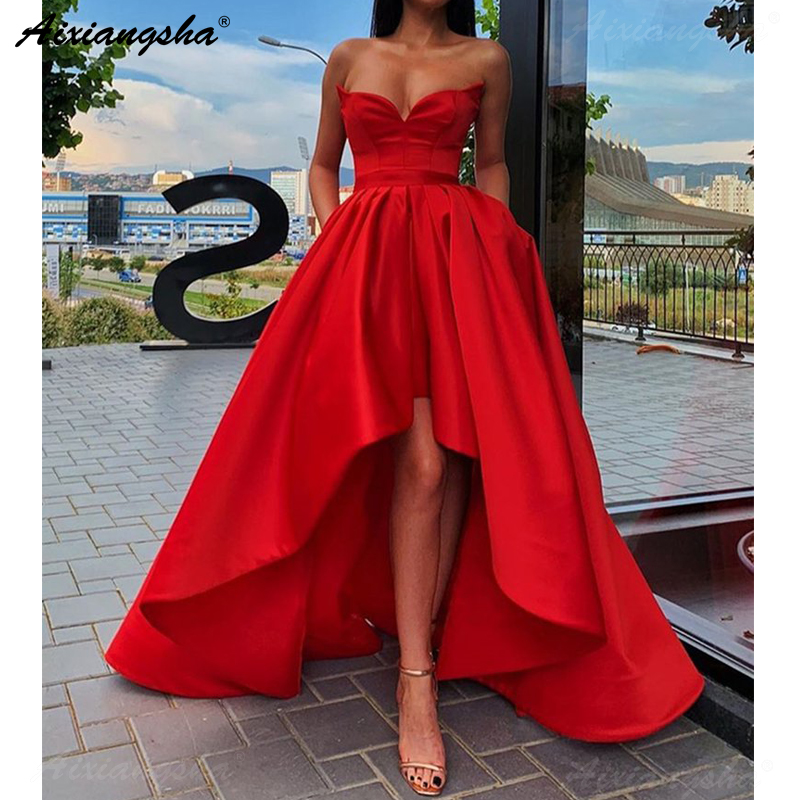 Simple Red Sweetheart Evening Party Gown Satin High Low   Prom     Dress   with Pockets Plus Size   Prom     Dresses   2019 Long