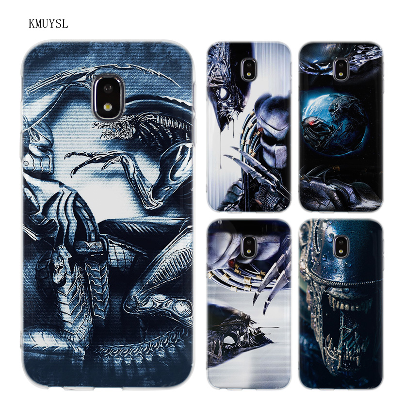 KMUYSL Alien vs Predator TPU Transparent Soft Case Cover for Samsung Galaxy J5 J7 J3 2016 2017