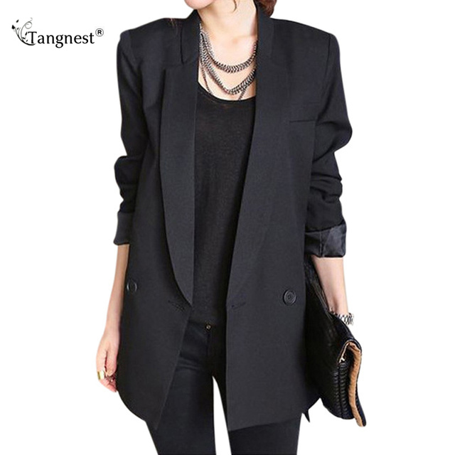 Tangnest Spring Women Blazer 2017 New Oversized Casual Long Sleeve