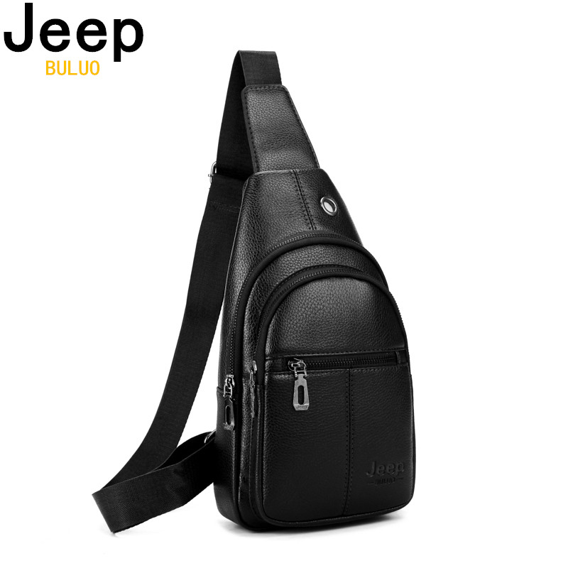 JEEP BULUO Men's Crossbody Shoulder Bags Brand Fashion Men Chest Bag Split Leather Sling Bags High Quality Travel Drop Shipping
