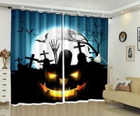 Halloween Printing Creative Photo of Pumpkin Lantern Bedding Room Living Room Sunshade 3D Window Curtains Gift for Home