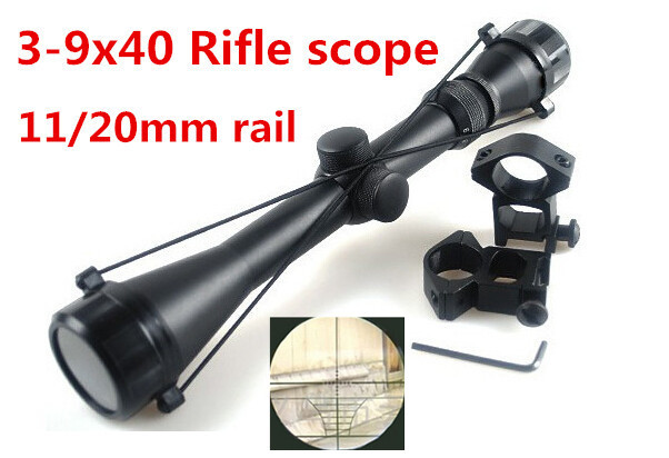 1set 3-9x40 Rifle Scope Outdoor Reticle Sight Optics Sniper Deer Tactical Hunting Scopes + 11mm /20 mm Rail Mounts