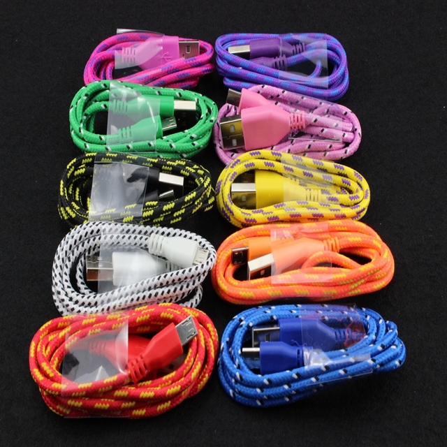 200pcs Colorful round Braided Fabric Micro USB Cord Data & Sync Charger Cable For Samsung For LG Phone 10 Colors Hight Quality