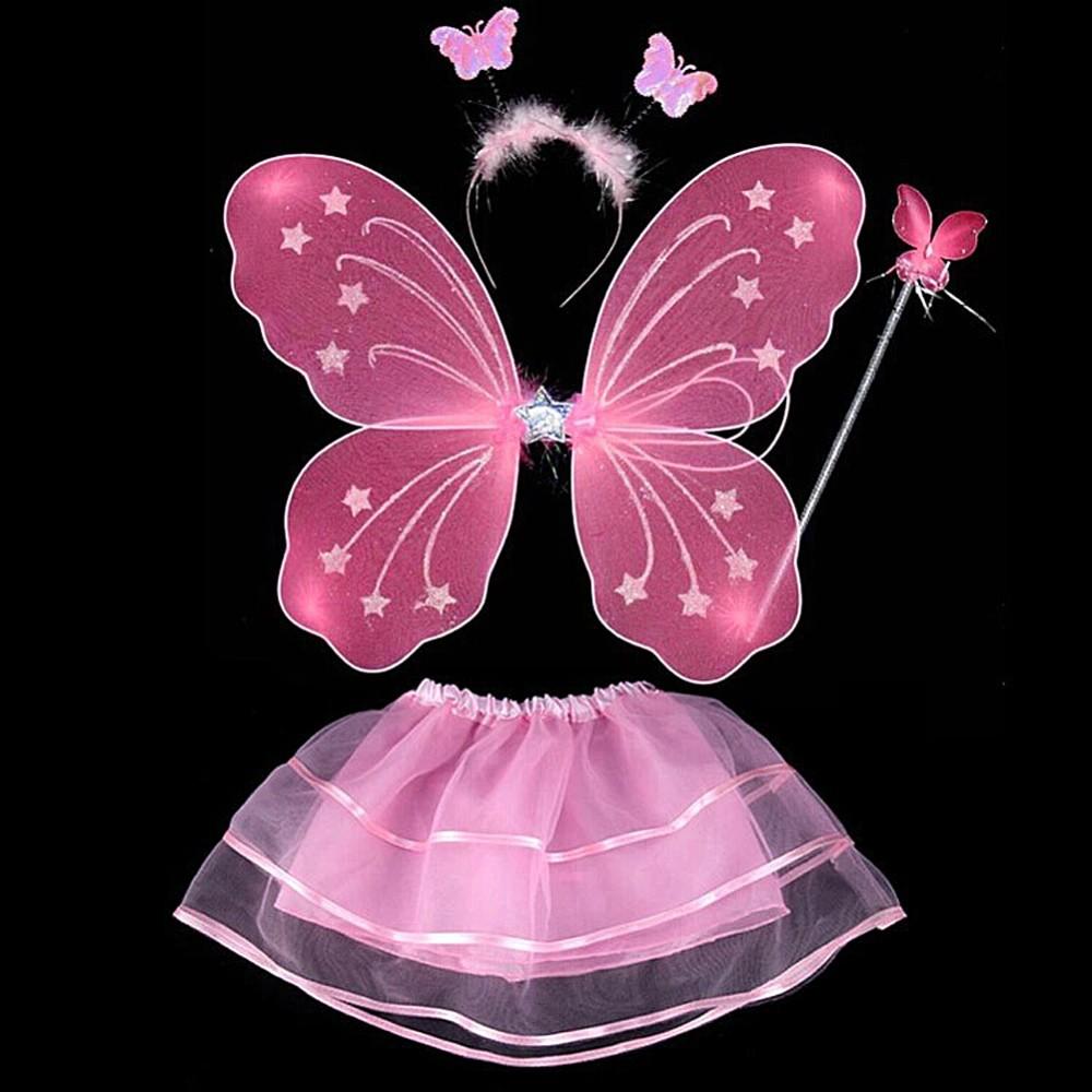 17 4 Pcs Baby Child Kids Butterfly Wings Wand Headband Tutu Skirt Halloween Costume 3