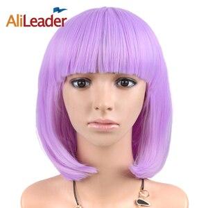 Pelucas de pelo sintético liso Alileader Bob corto de 12 pulgadas, Morado, amarillo, verde, 31 colores, con flequillo para mujer