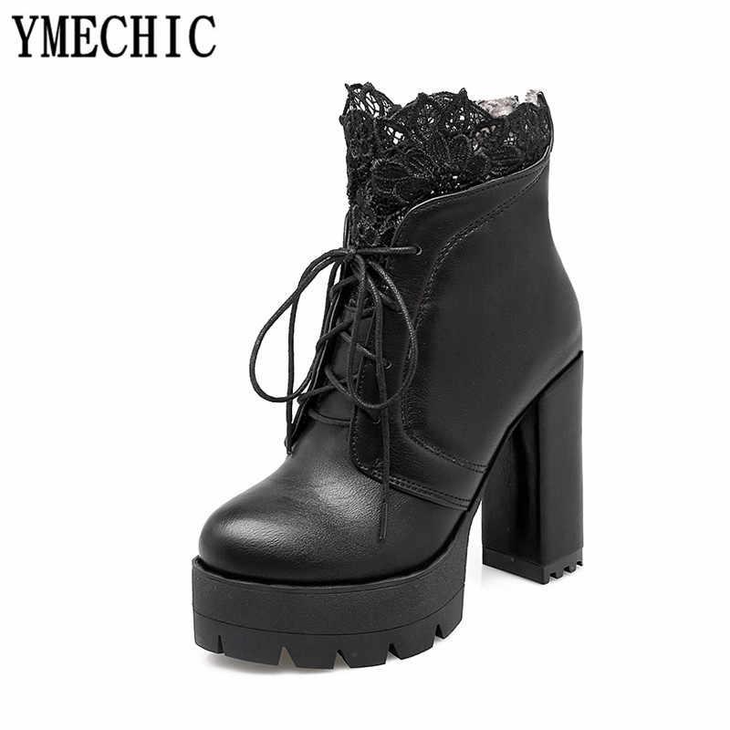 YMECHIC 2018 bayan dantel Up platformu blok yüksek topuk ayak bileği kısa motosiklet botları beyaz siyah bayan sonbahar gotik ayakkabı artı boyutu