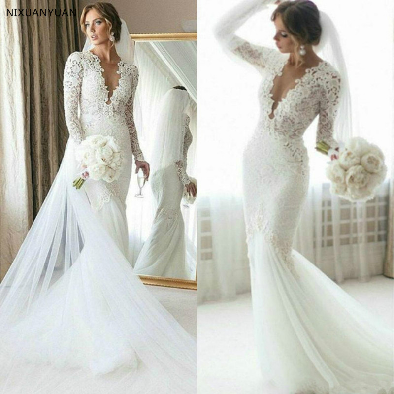2020 Full Lace Mermaid Wedding Dress Sweep Train Long Sleeve Bridal Gown Summer Beach Custom Made Vestido De Novia Plus Size Buy At The Price Of 108 16 In Aliexpress Com Imall Com
