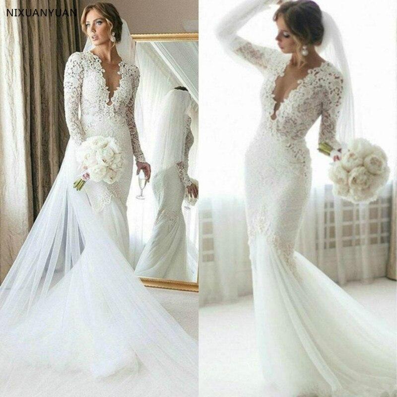 2019 Full Lace Mermaid Wedding Dress Sweep Train Long Sleeve Bridal Gown Summer Beach Custom Made Vestido De Novia Plus Size