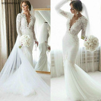 2020 Full Lace Mermaid Wedding Dress Sweep Train Long Sleeve Bridal Gown Summer Beach Custom Made Vestido De Novia Plus Size