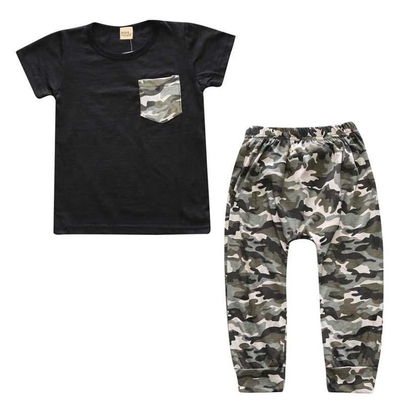 Summer Baby Suit Fashion Baby Boy Clothes Set Cotton Infant Boy Clothing Short Sleeve Tops+Camo Pants Sets Newborn Clothes