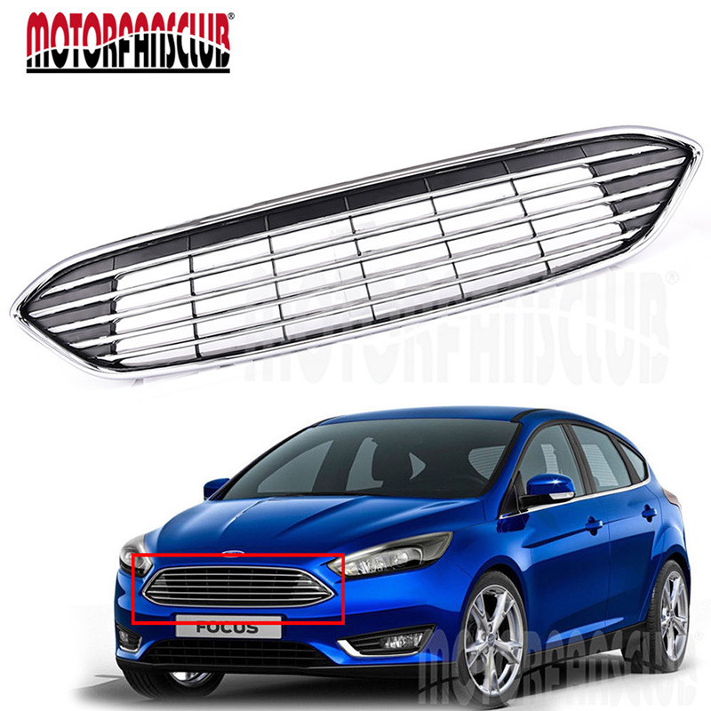 Car Racing Grills Cover ABS Chrome Upper Centre Grille Front Bumper Black Grill For Ford Focus 2015 2016 Car Styling for honda accord spirior 2016 2017 perfect match front grills racing grills