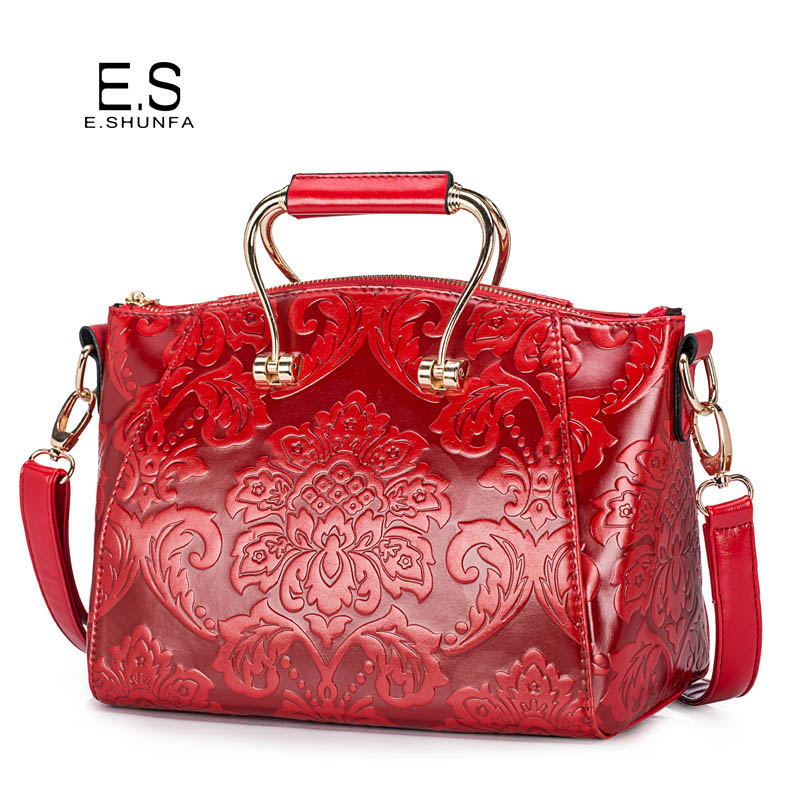 Flower Shoulder Bags For Women 2018 New Design Single Shoulder Bag PU Leather Elegant Fashion Saffiano Womens Bag Red Green Blue blue flower design кожа pu откидной крышки кошелек карты держатель чехол для samsung j5prime