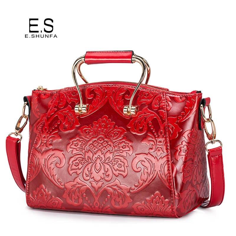 Flower Shoulder Bags For Women 2018 New Design Single Shoulder Bag PU Leather Elegant Fashion Saffiano Womens Bag Red Green Blue