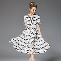 Summer Swing Crane Printed Dress Plus Size Women Clothing Short Sleeve Woven Casual Midi Dresses White