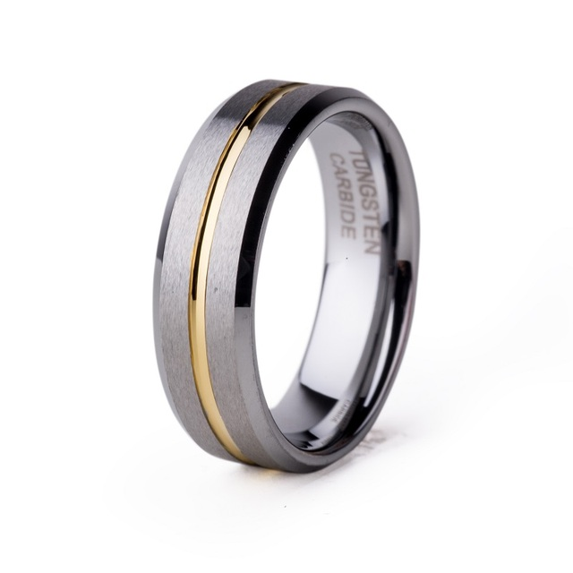 Hot Sale Mannen Canada Metal Jewelry 6mm Female Tungsten Wedding Band Ring for Women Gold Plated Groove Matte Finish TU53R