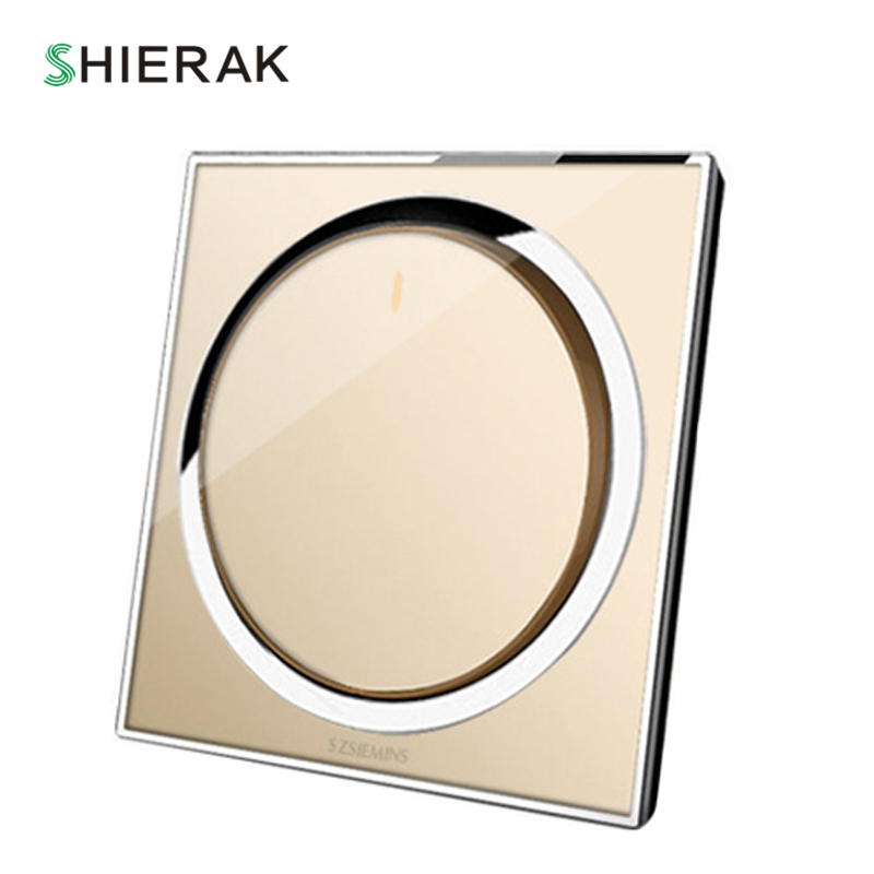 SHIERAK Luxury Acrylic Panel 1 Gang 1 Way Light Switch Round Wall Switch Push Button On/Off Switch Home 86 Type 10A 250V ln kdc a11 4a 128a 250v switch button switch