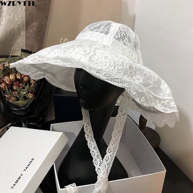 New Floppy Lace Hat Summer Big Wide Brim Sun Hat White Black Lace Kentucky Derby Church Party Wedding Hats Packable Beach Hat