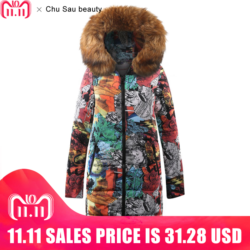 2018 New Collection Winter Women Jacket Coat Original Fur Collar Women Parkas Fashion Brand Womens Cotton Padded Jacket CY1629BK
