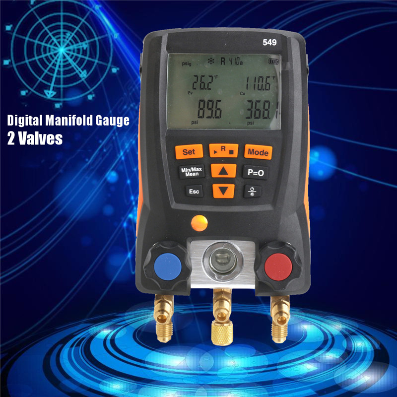 Digital Manifold Gauge Helps Refrigerantion Refrigerat Service Gauge System Meter Pressure Sensor For HVAC 0560 0550 digital hydraulic pressure gauge 400bar 40mpa 10000psi with bsp1 4 connector backlight pressure tester meter