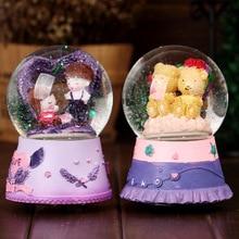 Lover Cartoon Crystal Swivel Snowflake Music Box Glass Snow Musical Box Lovers Music Box For Girlfriend Lover Lovers Music Box