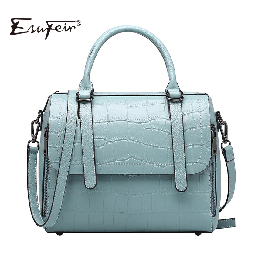 ESUFEIR Brand Genuine Leather Women Handbag Stone Pattern Cow Leather Shoulder Bag Fashion Design Femal Top-Handle Bag For women esufeir brand genuine leather handbag for women retro shoulder bags top handle small flap bag crossbody bag for women luxury bag