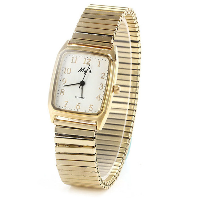 My lady, vintage quartz watch and circular dial stainless steel elastic strap is