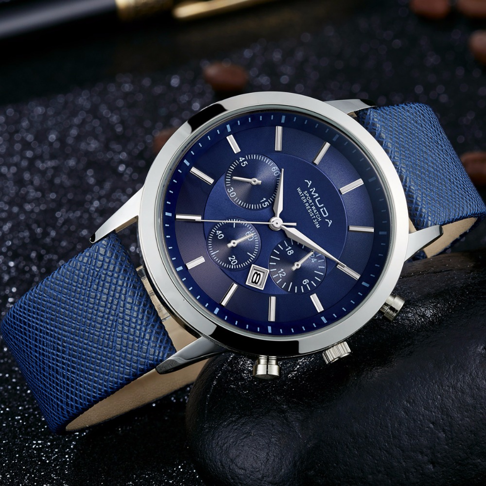 Luxury Brand Amuda Men Quartz Watches Genuine Leather Waterproof Casual Wrist watches for Man Sport relojes Outdoor Clock