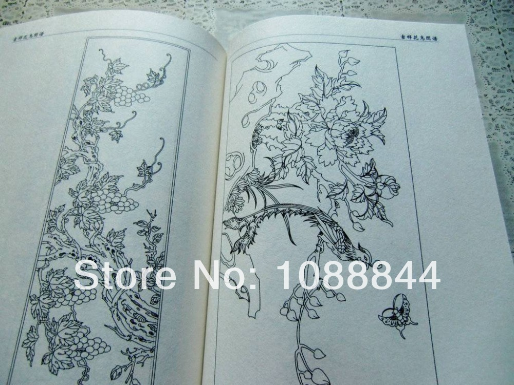 Traditional Flower Line Drawing : Free shipping chinese traditional flower bird line drawing flash
