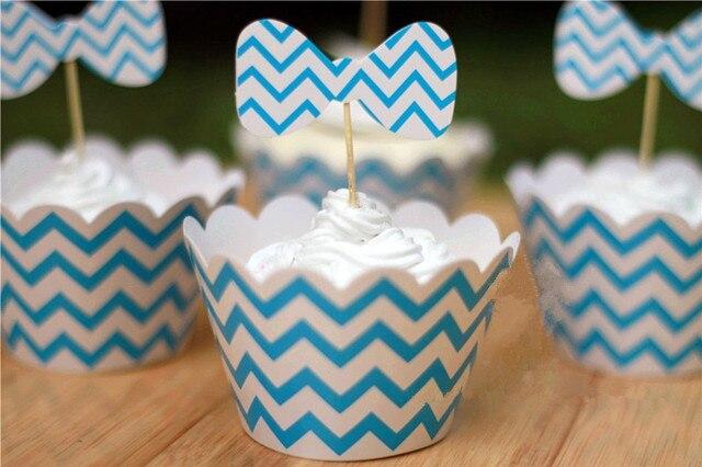 Kostenloser Versand Blauen Streifen Welle Kuchenverpackungen Kuchen