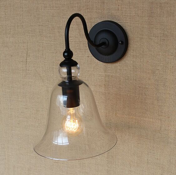 IWHD RH Retro Loft Style Wall Lamp American Industrial Vintage Wall Light Glass Lampshade Edison Wall Sconce Lamparas De Pared american edison loft style rope retro