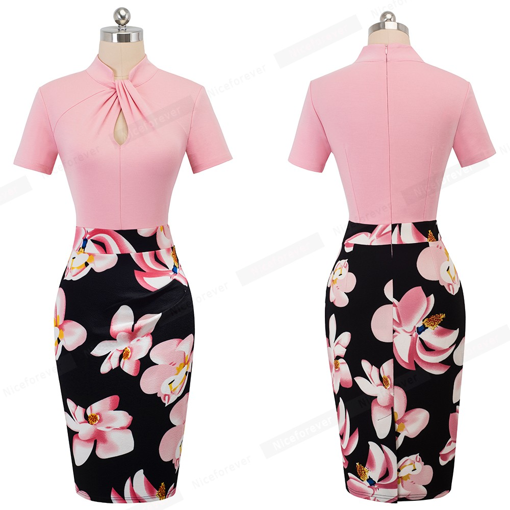 Nice-forever Vintage Contrast Color Patchwork Wear to Work Knot vestidos Bodycon Office Business Sheath Women Dress B430 38