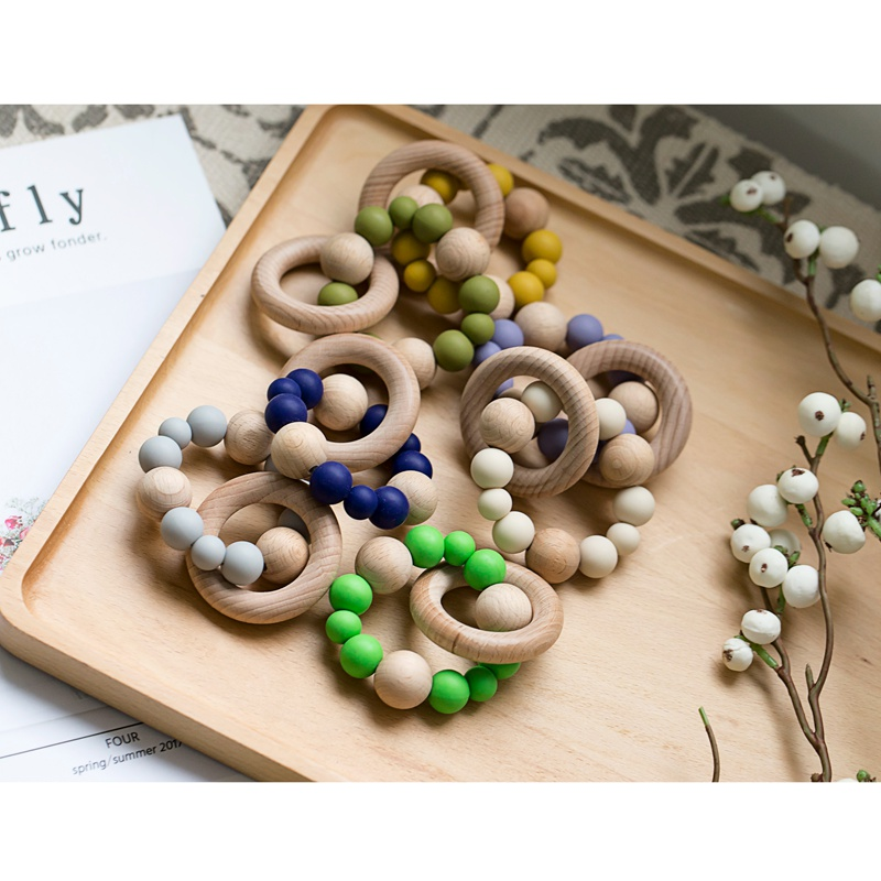 Baby Toys Silicone Beads DIY Baby Rattles Bracelets Teething Wooden Ring Toys For Kids Baby Teethers For Stroller Let's Make 1pc