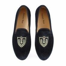 Лоферы мужские ручной работы бархатные туфли плоская подошва