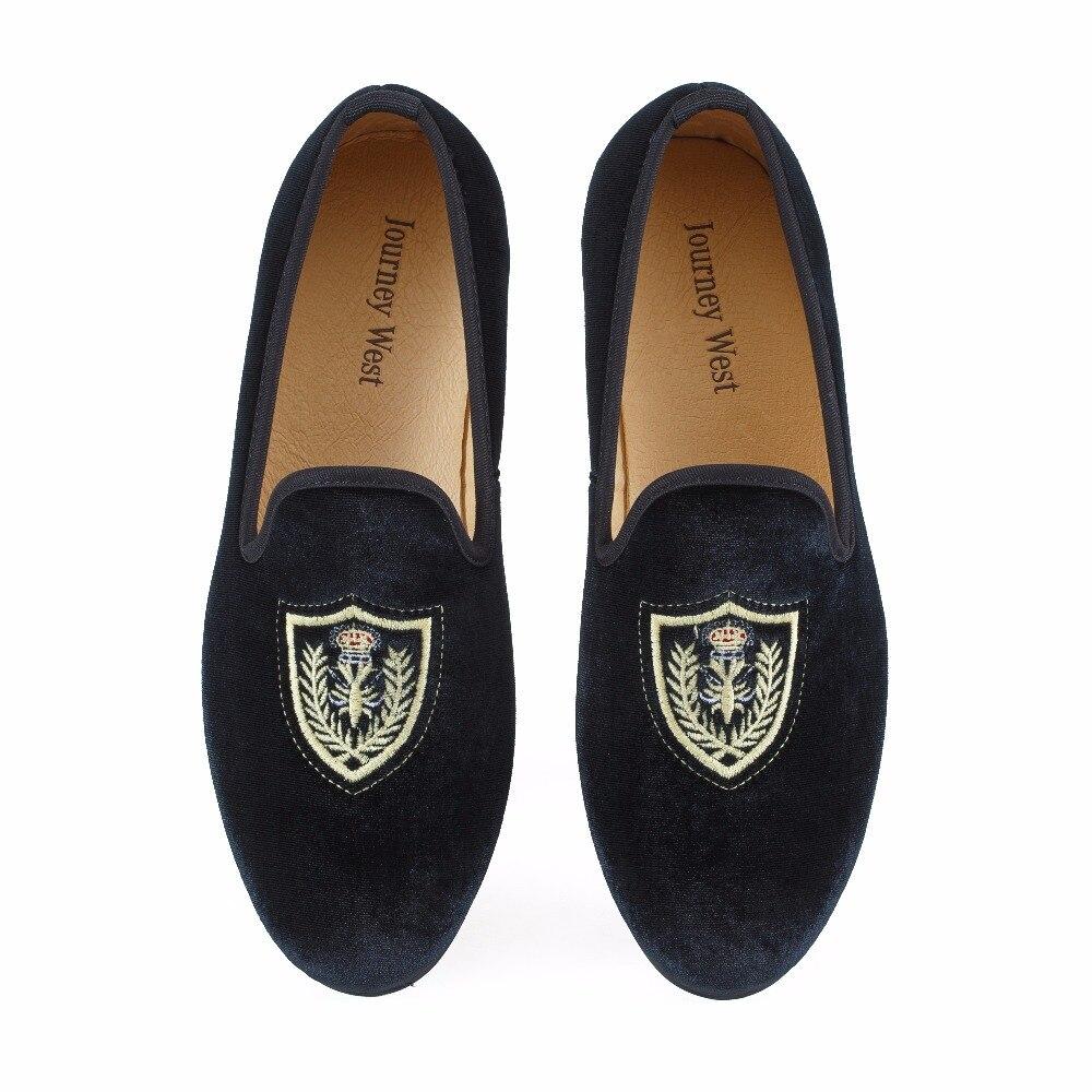 Nouveau fait à la main hommes noir de bal de mariage mocassins chaussures velours pantoufles appartements de mode hommes broderie sans lacet chaussures habillées taille US 7-13