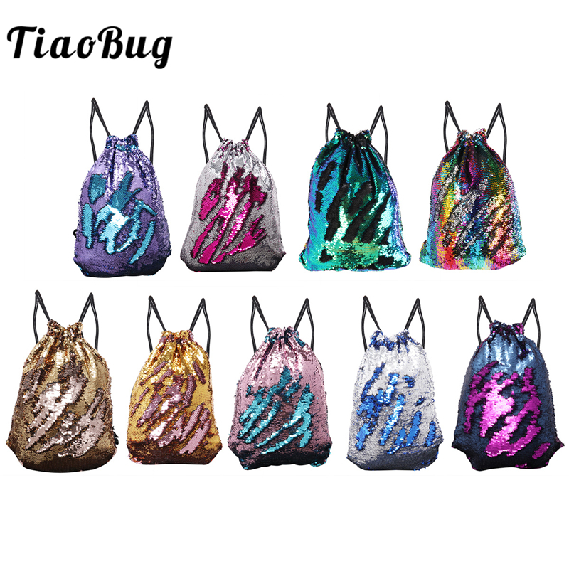 TiaoBug Women Girls Mermaid Reversible Sequins Ballet Dance Bag Drawstring Backpack Daypack Travel Rucksack Dance Gym Backpack