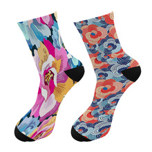 New 3D Printed Japanese Colorful Paint Crew Socks Men Japanese Ukiyoe Long