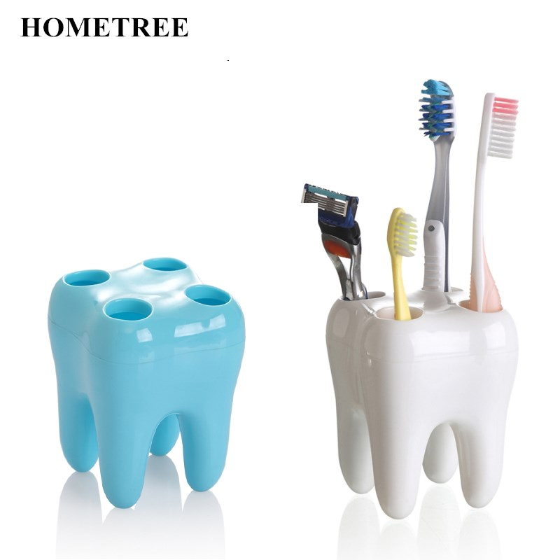 HOMETREE 1 Pcs Teeth Style Toothbrush Rack Multi-Function Tooth Modeling Container Toothbrush Holder Bathroom Accessories H849